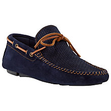 Buy Dune Beach Comber Weave Print Suede Driver Loafers, Navy Online at johnlewis.com