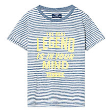 Buy Mango Kids Boys' Printed Message Striped T-Shirt, Blue Online at johnlewis.com