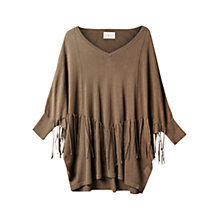 Buy East Tassel Linen Poncho, Khaki Online at johnlewis.com