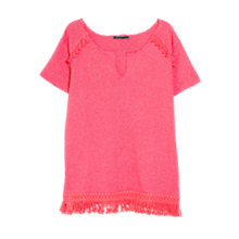 Buy Violeta by Mango Fringe Cotton Jumper, Punch Online at johnlewis.com