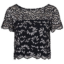 Buy French Connection Lucet Lace Scallop Trim Top, Utility Blue Online at johnlewis.com