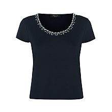 Buy Precis Petite Embellished Top, Navy Online at johnlewis.com