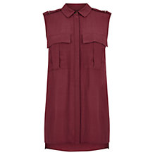 Buy Warehouse Sleeveless Military Shirt, Dark Red Online at johnlewis.com
