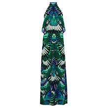 Buy Warehouse Feather Print Maxi Dress, Green Online at johnlewis.com