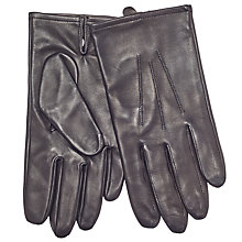 Buy John Lewis Silk Lined Aniline Leather Gloves, Black Online at johnlewis.com