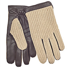 Buy John Lewis Crochet Back Wool Lined Leather Driving Gloves, Brown Online at johnlewis.com