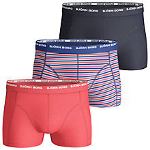 Buy Bjorn Borg Basic Seasonal Trunks, Pack of 3, Red/Striped/Black Online at johnlewis.com