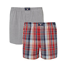 Buy Gant Cotton Woven Check Boxers, Pack of 2 Online at johnlewis.com