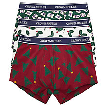 Buy Joules Crown Joules Deck Your Balls Xmas Printed Cotton Trunks, Pack of 3, Multi-coloured Online at johnlewis.com