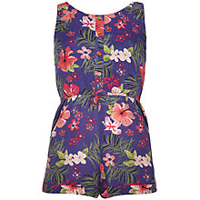 Buy Yumi Girl Tropical Print Playsuit, Blue/Multi Online at johnlewis.com