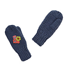 Buy John Lewis Floral Embroidered Mitten Gloves, Blue Online at johnlewis.com