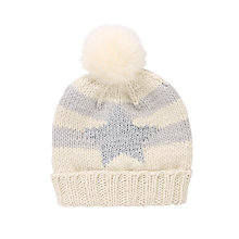 Buy John Lewis Sparkle Star Bobble Hat, Cream/Grey Online at johnlewis.com
