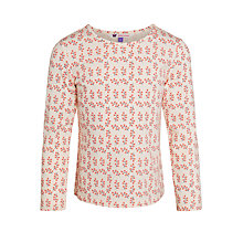 Buy John Lewis Girl All Over Floral Print Top, Cream Online at johnlewis.com