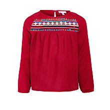 Buy John Lewis Girl Embroidered Yoke Swing Blouse, Red Online at johnlewis.com
