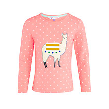 Buy John Lewis Girl Llama T-Shirt, Pink Online at johnlewis.com