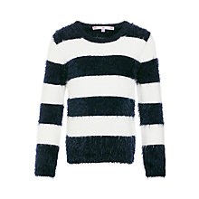 Buy John Lewis Girl Stripe Eyelash Knit Jumper, Navy/White Online at johnlewis.com