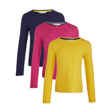 Buy John Lewis Girl Long Sleeve T-Shirt, Pack of 3, Multi Online at johnlewis.com