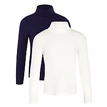 Buy John Lewis Girl Roll Neck Top, Pack of 2, Navy/White Online at johnlewis.com