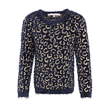 Buy John Lewis Girl Leopard Eyelash Knit Jumper, Navy Online at johnlewis.com