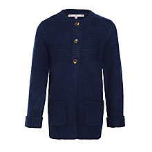 Buy John Lewis Girl Chunky Knit Long Line Cardigan, Navy Online at johnlewis.com