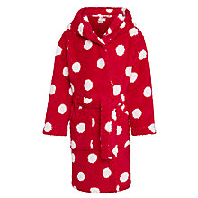 Buy John Lewis Girl Spot Print Waffle Hooded Robe, Red Online at johnlewis.com
