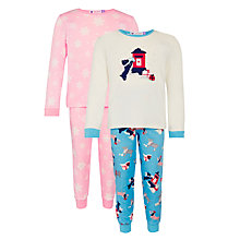 Buy John Lewis Girls' Christmas Dog Print Pyjamas, Pack of 2, Pink/Blue Online at johnlewis.com