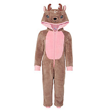 Buy John Lewis Novelty Reindeer Onesie, Brown Online at johnlewis.com