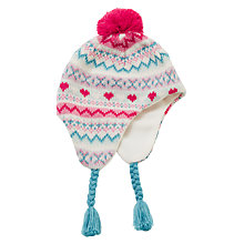 Buy John Lewis Pretty Fair Isle Trapper Hat, Pink Online at johnlewis.com