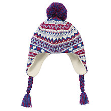 Buy John Lewis Fair Isle Knit Trapper Hat, Lilac Online at johnlewis.com