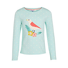 Buy John Lewis Girl Long Sleeve Bird T-Shirt, Turquoise Online at johnlewis.com