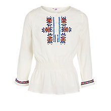 Buy John Lewis Girl Smocked Embroidered Top, Cream Online at johnlewis.com