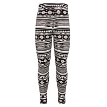 Buy John Lewis Girl Jacquard Print Leggings, Black Online at johnlewis.com