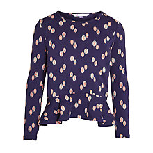 Buy John Lewis Girl Long Sleeve Peplum Top, Navy Online at johnlewis.com