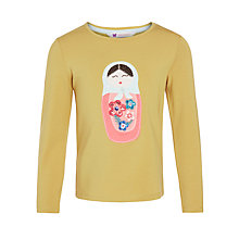 Buy John Lewis Girl Russian Doll Print T-Shirt, Yellow Online at johnlewis.com