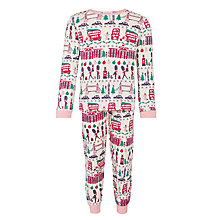 Buy John Lewis Girls' London All Over Print Pyjamas, Pink/Cream Online at johnlewis.com