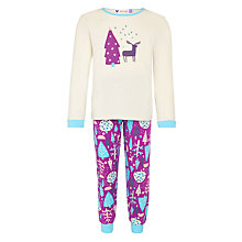 Buy John Lewis Girl Reindeer Pyjamas, Cream/Purple Online at johnlewis.com