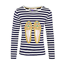 Buy John Lewis Girl Tibetan Shoe T-Shirt, Navy Online at johnlewis.com