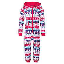 Buy John Lewis Girls' Snowman Scene Sweat Onesie, Red/Multi Online at johnlewis.com