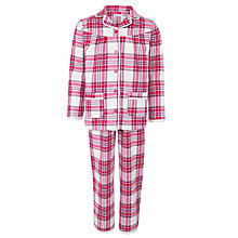 Buy John Lewis Girl Tartan Brushed Check Pyjamas, Pink Online at johnlewis.com