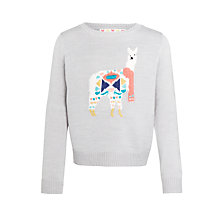 Buy John Lewis Girls' Llama Jumper, Grey Online at johnlewis.com