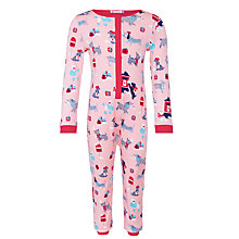Buy John Lewis Girls' Christmas Dog Print Onesie, Pink Online at johnlewis.com