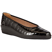 Buy Gabor Piquet Wide Fit Patent Croc Wedge Shoes, Black Online at johnlewis.com