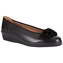 Buy Gabor Lesley Wide Fit Leather Wedge Pumps, Black Online at johnlewis.com
