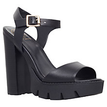 Buy KG by Kurt Geiger Menace Cleated Sole Block Heel Leather Sandals, Black Online at johnlewis.com