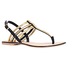 Buy KG by Kurt Geiger Nala Plaited Leather Toe Thong Sandals, Black/Gold Online at johnlewis.com