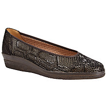 Buy Gabor Piquet Wide Fit Python Wedge Pumps, Bronze Online at johnlewis.com