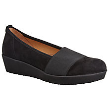 Buy Gabor Freeway Wide Fit Nubuck Wedge Pumps, Black Online at johnlewis.com