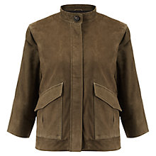 Buy Jigsaw Suede Utility Jacket, Khaki Online at johnlewis.com