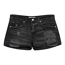 Buy Mango Cotton Ripped Shorts, Black Online at johnlewis.com
