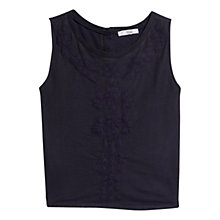 Buy Mango Embroidered Mesh Cotton Top, Navy Online at johnlewis.com